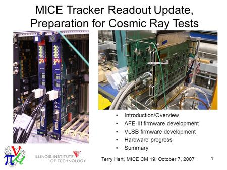 1 MICE Tracker Readout Update, Preparation for Cosmic Ray Tests Introduction/Overview AFE-IIt firmware development VLSB firmware development Hardware progress.