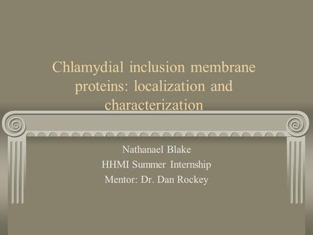 Chlamydial inclusion membrane proteins: localization and characterization Nathanael Blake HHMI Summer Internship Mentor: Dr. Dan Rockey.