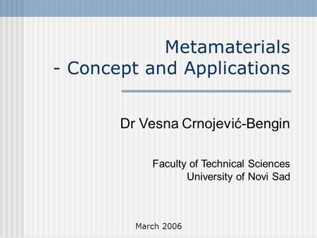 Metamaterials - Concept and <strong>Applications</strong>