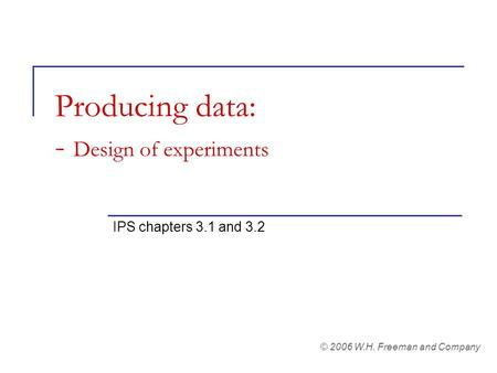 Producing data: - Design of experiments IPS chapters 3.1 and 3.2 © 2006 W.H. Freeman and Company.