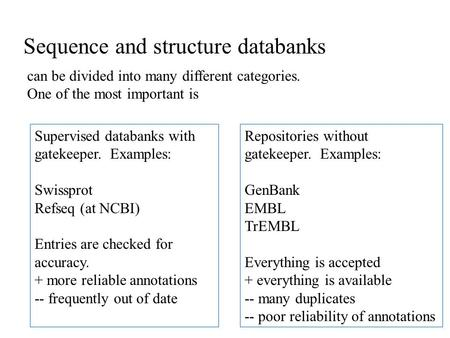 Sequence and structure databanks can be divided into many different categories. One of the most important is Supervised databanks with gatekeeper. Examples: