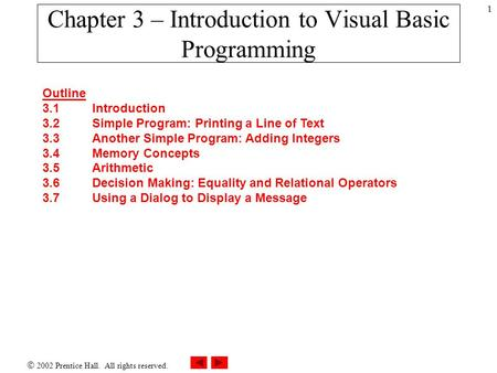  2002 Prentice Hall. All rights reserved. 1 Outline 3.1Introduction 3.2Simple Program: Printing a Line of Text 3.3Another Simple Program: Adding Integers.