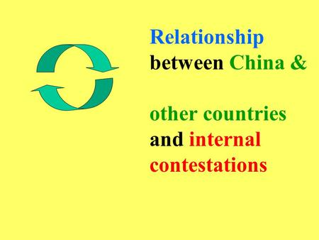 Relationship between China & other countries and internal contestations.