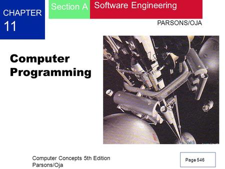 Computer Concepts 5th Edition Parsons/Oja Page 546 CHAPTER 11 Software Engineering Section A PARSONS/OJA Computer Programming.