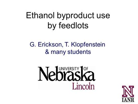 Ethanol byproduct use by feedlots G. Erickson, T. Klopfenstein & many students.