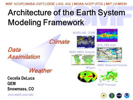 NSF NCAR | NASA GSFC | DOE LANL ANL | NOAA NCEP GFDL | MIT | U MICH www.esmf.ucar.edu Architecture of the Earth System Modeling Framework GMAO Seasonal.