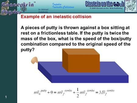 Impulse Inelastic Collisions 1 Example of an inelastic collision A pieces of putty is thrown against a box sitting at rest on a frictionless table. If.