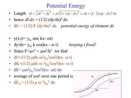 Potential Energy Length hence dl-dx = (1/2) (dy/dx) 2 dx dU = (1/2) F (dy/dx) 2 dx potential energy of element dx y(x,t)= y m sin( kx-  t) dy/dx= y m.