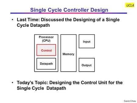 Savio Chau Single Cycle Controller Design Last Time: Discussed the Designing of a Single Cycle Datapath Control Datapath Memory Processor (CPU) Input Output.
