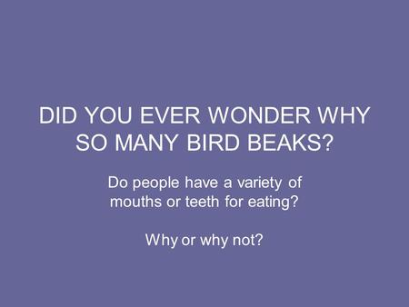 DID YOU EVER WONDER WHY SO MANY BIRD BEAKS? Do people have a variety of mouths or teeth for eating? Why or why not?