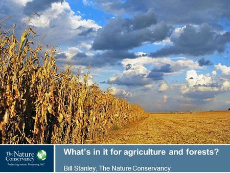 © Mark Godfrey What's in it for agriculture and forests? Bill Stanley, The Nature Conservancy.
