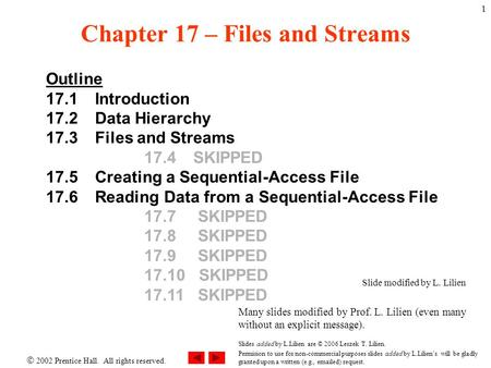  2002 Prentice Hall. All rights reserved. 1 Chapter 17 – Files and Streams Outline 17.1 Introduction 17.2 Data Hierarchy 17.3 Files and Streams 17.4 SKIPPED.