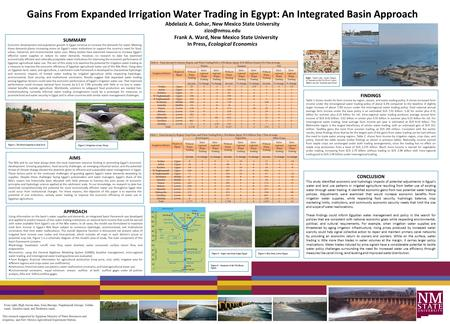 Gains From Expanded Irrigation Water Trading in Egypt: An Integrated Basin Approach Abdelaziz A. Gohar, New Mexico State University Frank.