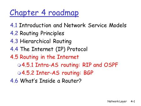 Network Layer4-1 Chapter 4 roadmap 4.1 Introduction and Network Service Models 4.2 Routing Principles 4.3 Hierarchical Routing 4.4 The Internet (IP) Protocol.