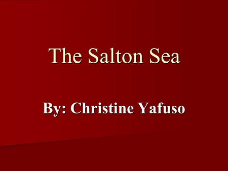 The Salton Sea By: Christine Yafuso. Background Located in Southeastern California Located in Southeastern California About 1000 km 2 in size About 1000.