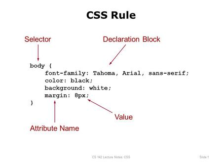 CS 142 Lecture Notes: CSSSlide 1 body { font-family: Tahoma, Arial, sans-serif; color: black; background: white; margin: 8px; } SelectorDeclaration Block.