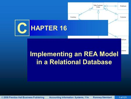 © 2008 Prentice Hall Business Publishing Accounting Information Systems, 11/e Romney/Steinbart1 of 121 C HAPTER 16 Implementing an REA Model in a Relational.