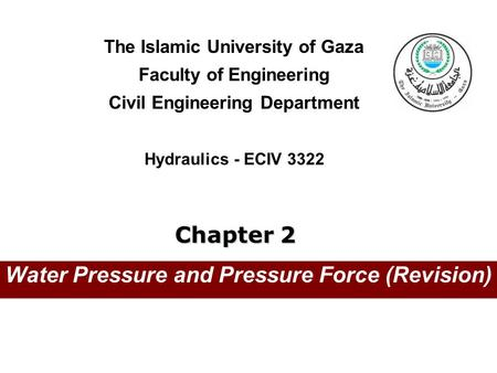Water Pressure and Pressure Force (Revision)