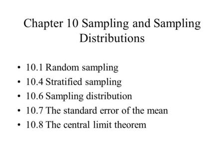 Chapter 10 Sampling and Sampling Distributions