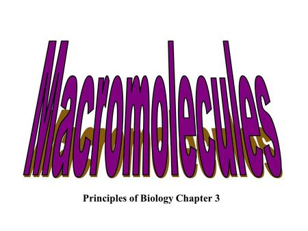Principles of Biology Chapter 3 Chapter 3 Molecules of Life Carbon is essential to life Cells are mostly carbon molecules & water Carbon is the basic.