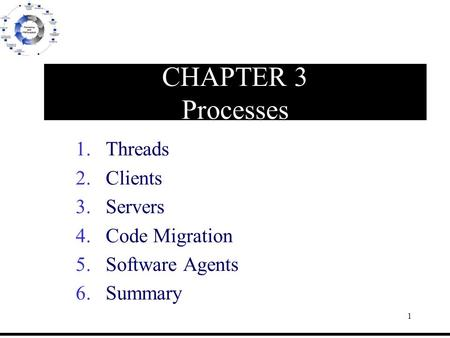 1 CHAPTER 3 Processes 1.Threads 2.Clients 3.Servers 4.Code Migration 5.Software Agents 6.Summary.
