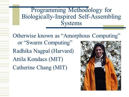 "Programming Methodology for Biologically-Inspired Self-Assembling Systems Otherwise known as ""Amorphous Computing"" or ""Swarm Computing"" Radhika Nagpal."