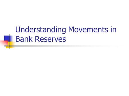 Understanding Movements in Bank Reserves