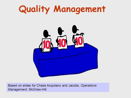 Quality Management © Holmes Miller 1999 Based on slides for Chase Acquilano and Jacobs, Operations Management, McGraw-Hill.