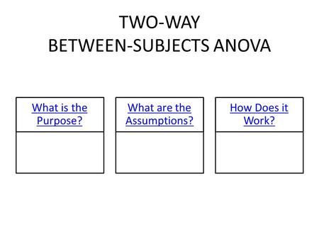TWO-WAY BETWEEN-SUBJECTS ANOVA What is the Purpose? What are the Assumptions? How Does it Work?