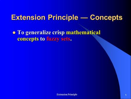 Extension Principle — Concepts