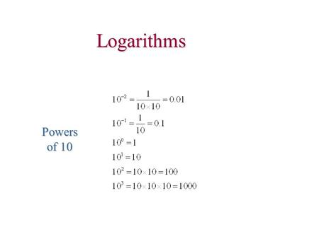 Logarithms Powers of 10. log ab = log a + log b log 1/a = -log a.