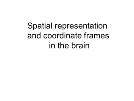 Spatial representation and coordinate frames in the brain.
