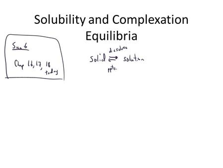 Solubility and Complexation Equilibria. K sp Expressions.