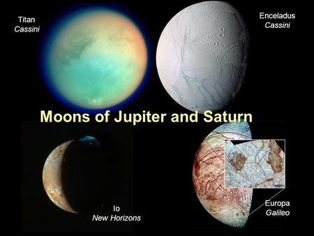 PTYS/ASTR 206Moons of Jupiter and Saturn 4/12/07 Moons of Jupiter and Saturn Enceladus Cassini Titan Cassini Io New Horizons Europa Galileo.