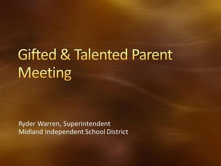 Gifted & Talented Parent Meeting