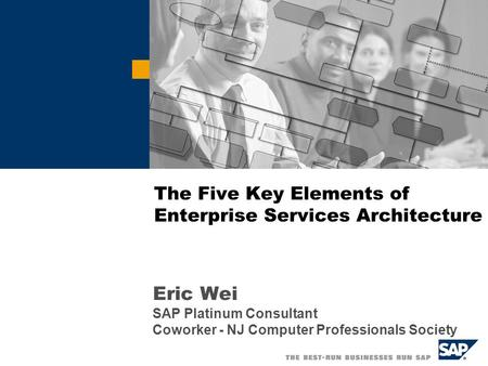 The Five Key Elements of Enterprise Services Architecture Eric Wei SAP Platinum Consultant Coworker - NJ Computer Professionals Society.