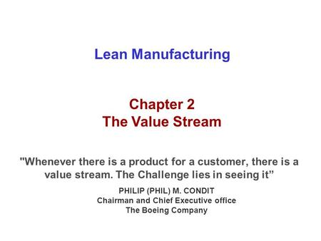 Chapter 2 - The Value Stream
