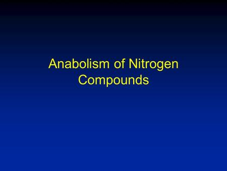 Anabolism of Nitrogen Compounds. Nitrogen Cycle Fig. 22-1 Lehninger POB 4 th Ed.