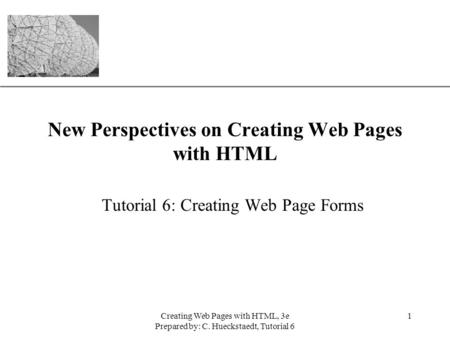 XP Creating Web Pages with HTML, 3e Prepared by: C. Hueckstaedt, Tutorial 6 1 New Perspectives on Creating Web Pages with HTML Tutorial 6: Creating Web.