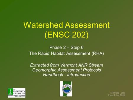 Watershed Assessment (ENSC 202)