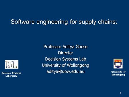 Software engineering for supply chains: