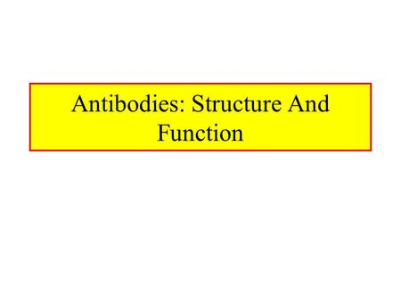 Antibodies: Structure And Function. Antibody Structure Antibodies Are Made Up Of: –2 Light Chains (identical) ~25 KDa –2 Heavy Chains (identical) ~50.