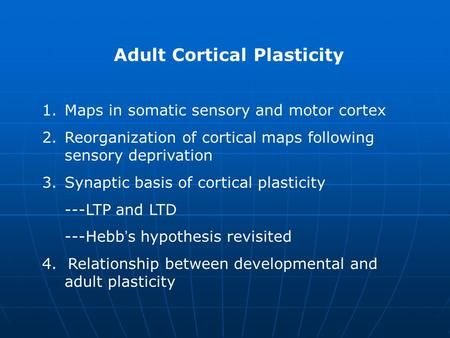 Adult Cortical Plasticity 1.Maps in somatic sensory and motor cortex 2.Reorganization of cortical maps following sensory deprivation 3.Synaptic basis of.