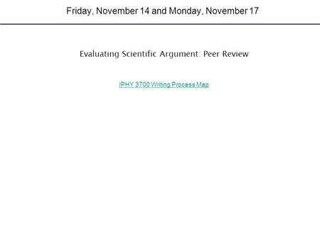 Friday, November 14 and Monday, November 17 Evaluating Scientific Argument: Peer Review IPHY 3700 Writing Process Map.
