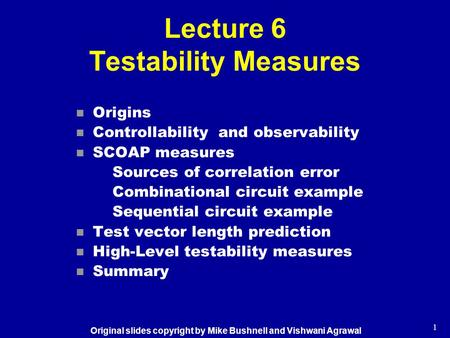 Lecture 6 Testability Measures