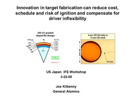 Innovation in target fabrication can reduce cost, schedule and risk of ignition and compensate for driver inflexibility US Japan IFE Workshop 3-22-05 Joe.