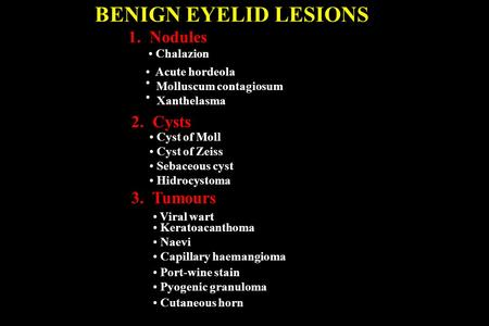 BENIGN EYELID LESIONS 1. Nodules Chalazion Acute hordeola 2. Cysts Cyst of Moll Cyst of Zeiss Sebaceous cyst Hidrocystoma 3. Tumours Xanthelasma Viral.