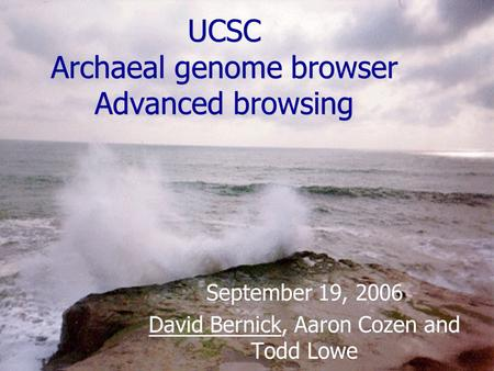 UCSC Archaeal genome browser Advanced browsing September 19, 2006 David Bernick, Aaron Cozen and Todd Lowe September 19, 2006 David Bernick, Aaron Cozen.