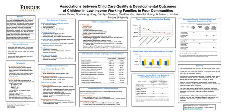 Associations between Child Care Quality & Developmental Outcomes of Children in Low Income Working Families in Four Communities James Elicker, Soo-Young.