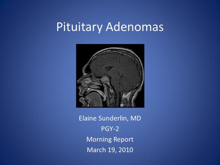 Pituitary Adenomas Elaine Sunderlin, MD PGY-2 Morning Report March 19, 2010.